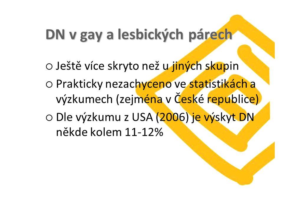 DN v gay a lesbických párech  Ještě více skryto než u jiných skupin  Prakticky nezachyceno ve statistikách a výzkumech (zejména v České republice)  Dle výzkumu z USA (2006) je výskyt DN někde kolem 11-12%
