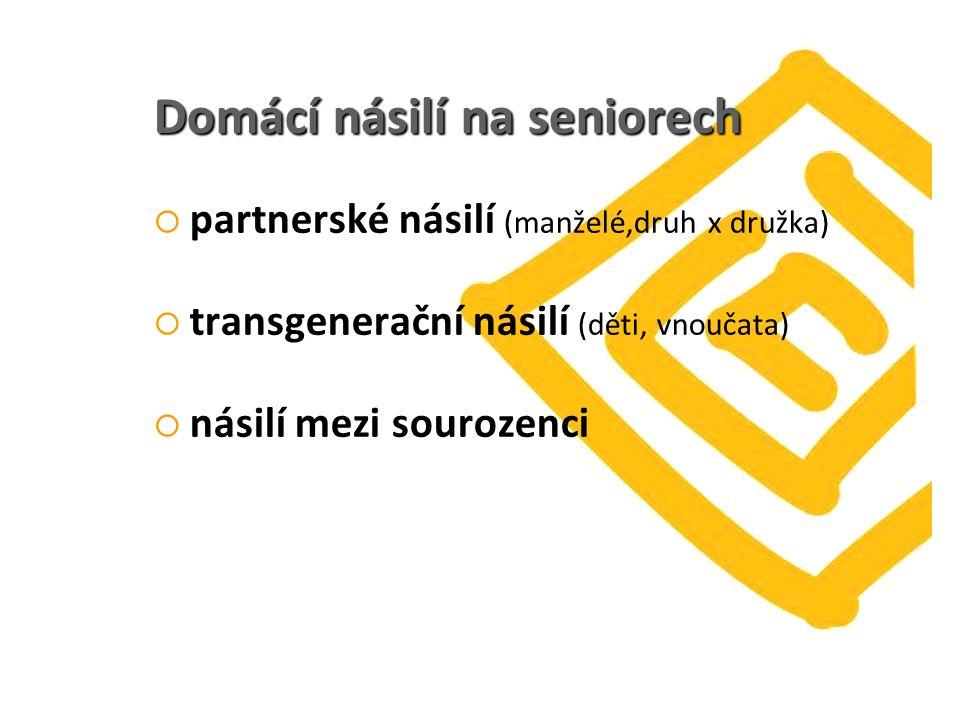 Domácí násilí na seniorech  partnerské násilí (manželé,druh x družka)  transgenerační násilí (děti, vnoučata)  násilí mezi sourozenci