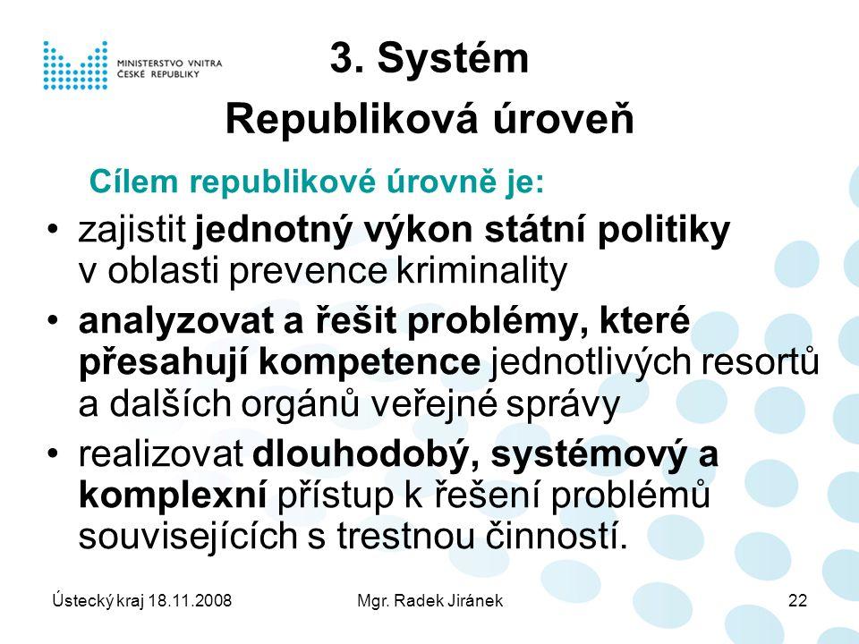 Ústecký kraj 18.11.2008Mgr. Radek Jiránek22 3.