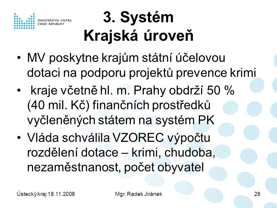 Ústecký kraj 18.11.2008Mgr. Radek Jiránek26 3.