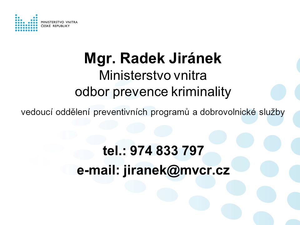 Mgr. Radek Jiránek Ministerstvo vnitra odbor prevence kriminality vedoucí oddělení preventivních programů a dobrovolnické služby tel.: 974 833 797 e-m