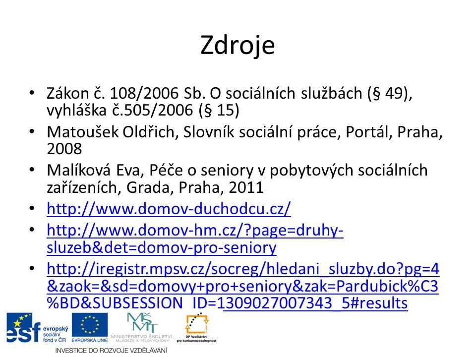 Zdroje Zákon č. 108/2006 Sb. O sociálních službách (§ 49), vyhláška č.505/2006 (§ 15) Matoušek Oldřich, Slovník sociální práce, Portál, Praha, 2008 Ma
