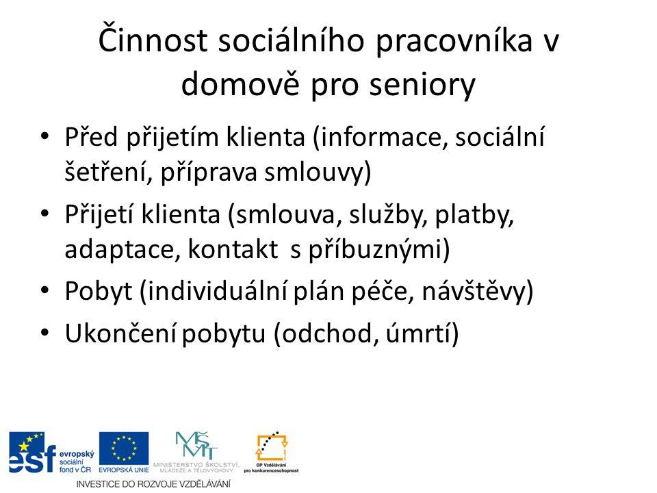 Činnost sociálního pracovníka v domově pro seniory Před přijetím klienta (informace, sociální šetření, příprava smlouvy) Přijetí klienta (smlouva, slu