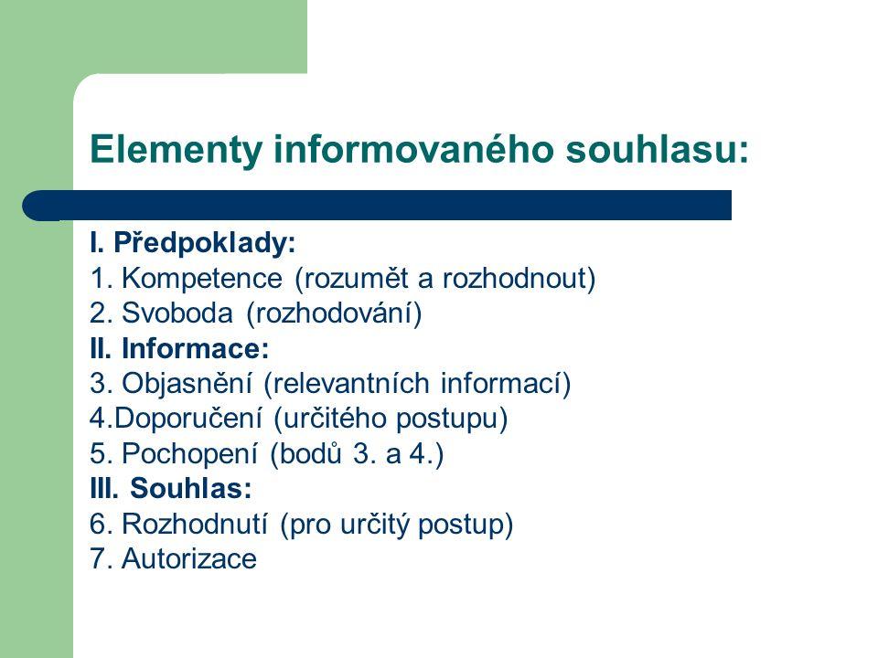 Elementy informovaného souhlasu: I. Předpoklady: 1.