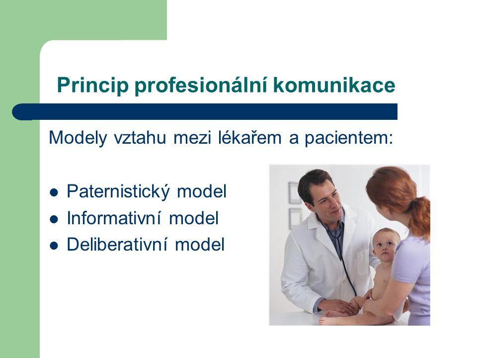 Princip profesionální komunikace Modely vztahu mezi lékařem a pacientem: Paternistický model Informativní model Deliberativní model