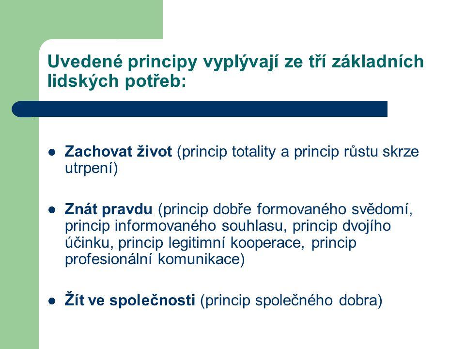 Uvedené principy vyplývají ze tří základních lidských potřeb: Zachovat život (princip totality a princip růstu skrze utrpení) Znát pravdu (princip dobře formovaného svědomí, princip informovaného souhlasu, princip dvojího účinku, princip legitimní kooperace, princip profesionální komunikace) Žít ve společnosti (princip společného dobra)