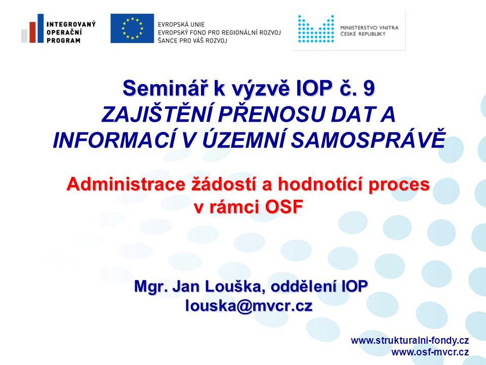 www.strukturalni-fondy.cz www.osf-mvcr.cz Seminář k výzvě IOP č.