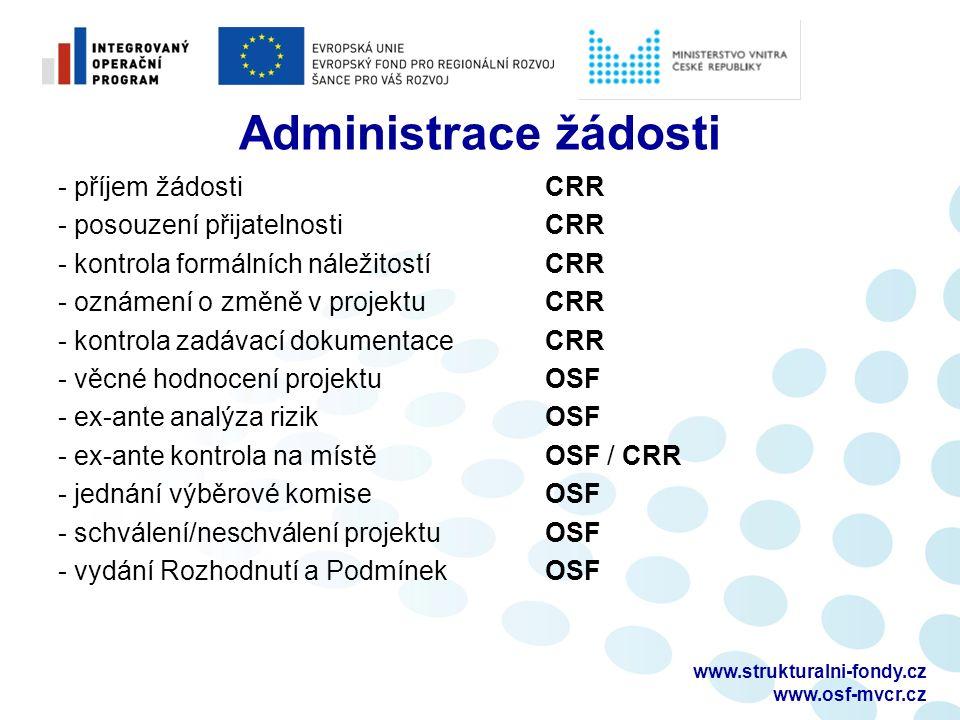 Administrace žádosti - příjem žádosti CRR - posouzení přijatelnosti CRR - kontrola formálních náležitostí CRR - oznámení o změně v projektu CRR - kontrola zadávací dokumentace CRR - věcné hodnocení projektu OSF - ex-ante analýza rizik OSF - ex-ante kontrola na místě OSF / CRR - jednání výběrové komise OSF - schválení/neschválení projektu OSF - vydání Rozhodnutí a Podmínek OSF www.strukturalni-fondy.cz www.osf-mvcr.cz