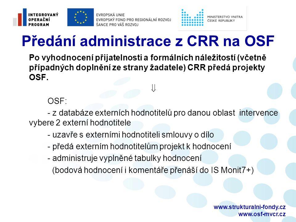 Předání administrace z CRR na OSF Po vyhodnocení přijatelnosti a formálních náležitostí (včetně případných doplnění ze strany žadatele) CRR předá projekty OSF.