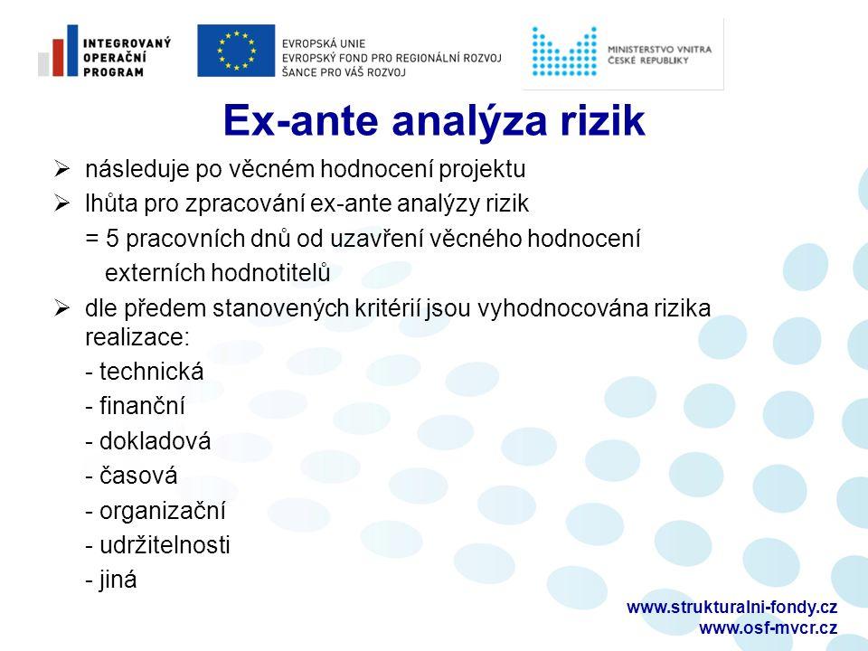 Ex-ante analýza rizik  následuje po věcném hodnocení projektu  lhůta pro zpracování ex-ante analýzy rizik = 5 pracovních dnů od uzavření věcného hodnocení externích hodnotitelů  dle předem stanovených kritérií jsou vyhodnocována rizika realizace: - technická - finanční - dokladová - časová - organizační - udržitelnosti - jiná www.strukturalni-fondy.cz www.osf-mvcr.cz