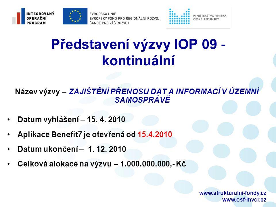 www.strukturalni-fondy.cz www.osf-mvcr.cz Představení výzvy IOP 09 - kontinuální Název výzvy – ZAJIŠTĚNÍ PŘENOSU DAT A INFORMACÍ V ÚZEMNÍ SAMOSPRÁVĚ Datum vyhlášení – 15.