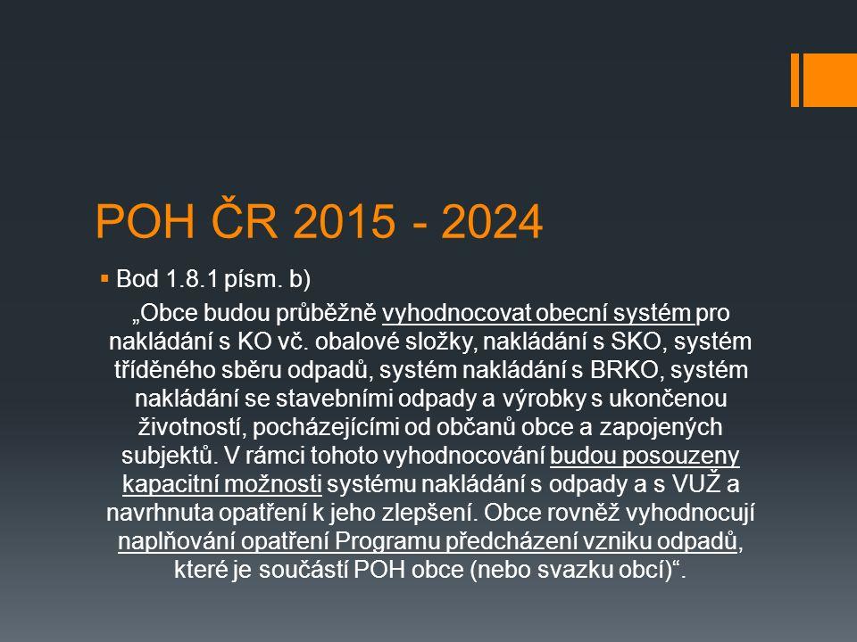 """POH ČR 2015 - 2024  Bod 1.8.1 písm. b) """"Obce budou průběžně vyhodnocovat obecní systém pro nakládání s KO vč. obalové složky, nakládání s SKO, systém"""