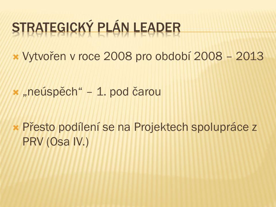 """ Vytvořen v roce 2008 pro období 2008 – 2013  """"neúspěch"""" – 1. pod čarou  Přesto podílení se na Projektech spolupráce z PRV (Osa IV.)"""