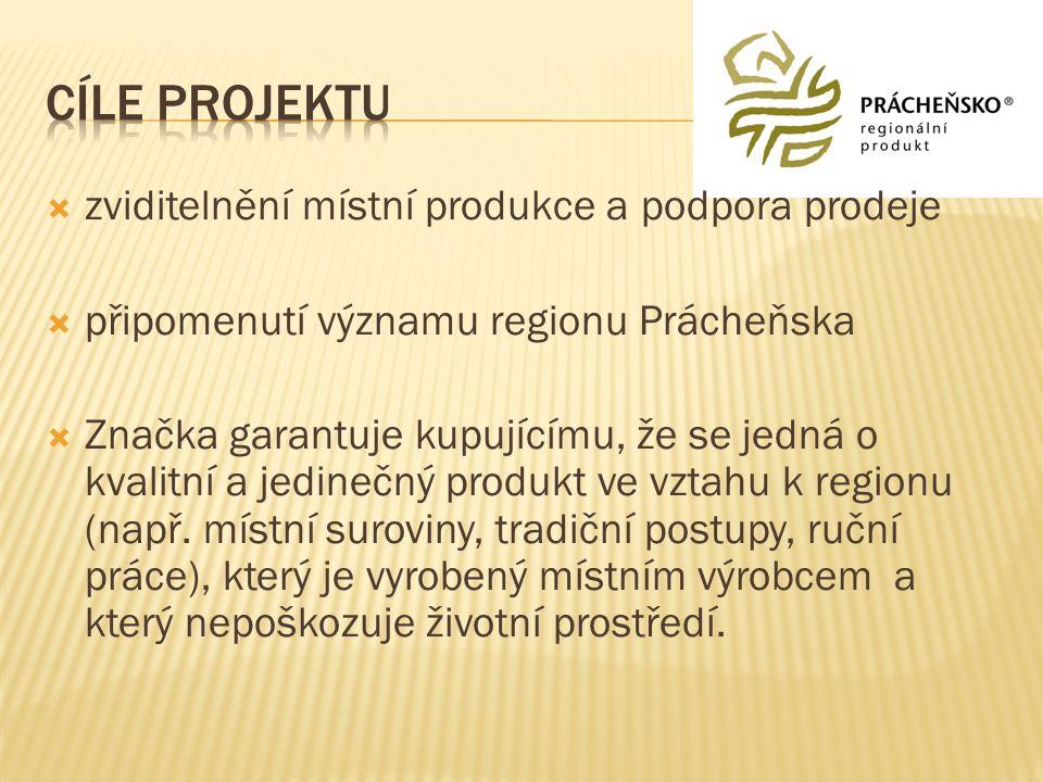  zviditelnění místní produkce a podpora prodeje  připomenutí významu regionu Prácheňska  Značka garantuje kupujícímu, že se jedná o kvalitní a jedi