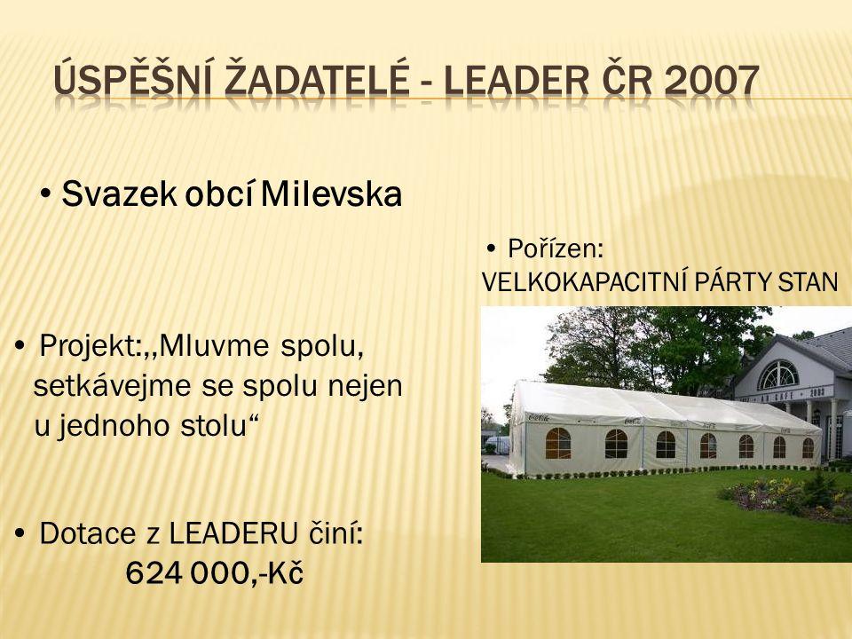 Svazek obcí Milevska Projekt:,,Mluvme spolu, setkávejme se spolu nejen u jednoho stolu Pořízen: VELKOKAPACITNÍ PÁRTY STAN Dotace z LEADERU činí: 624 000,-Kč
