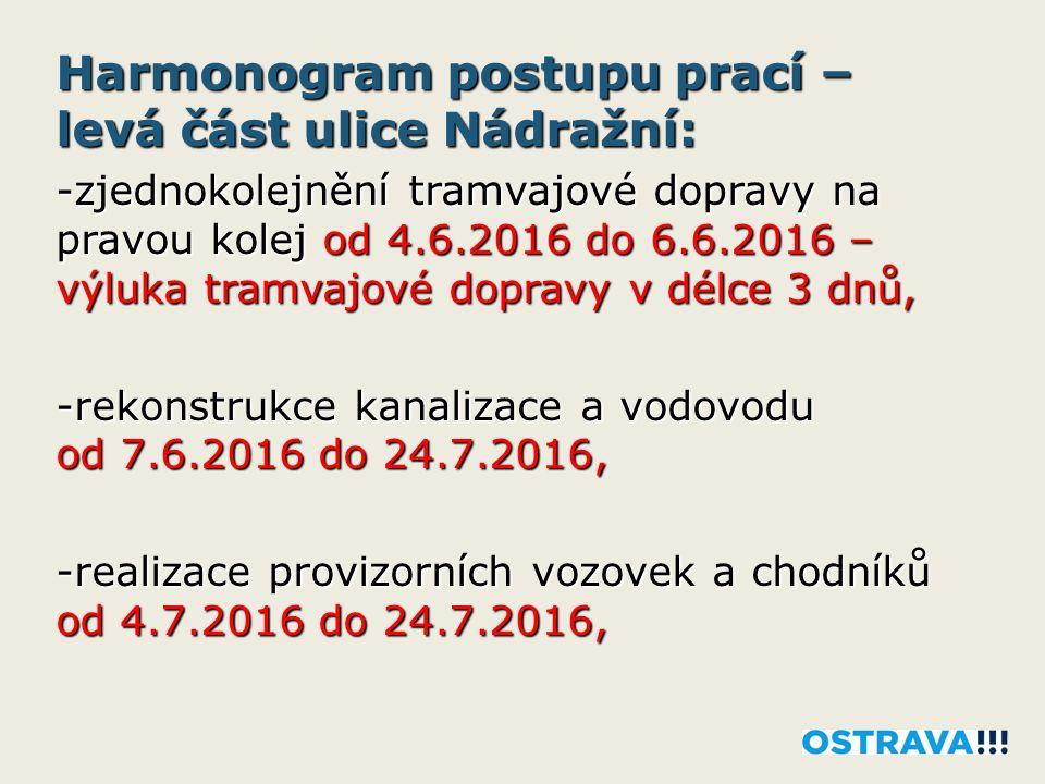 Harmonogram postupu prací – levá část ulice Nádražní: -zjednokolejnění tramvajové dopravy na pravou kolej od 4.6.2016 do 6.6.2016 – výluka tramvajové