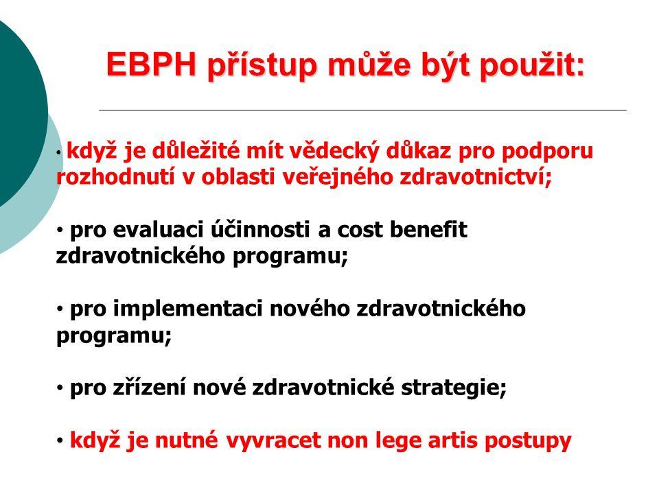 EBPH přístup může být použit: když je důležité mít vědecký důkaz pro podporu rozhodnutí v oblasti veřejného zdravotnictví; pro evaluaci účinnosti a cost benefit zdravotnického programu; pro implementaci nového zdravotnického programu; pro zřízení nové zdravotnické strategie; když je nutné vyvracet non lege artis postupy