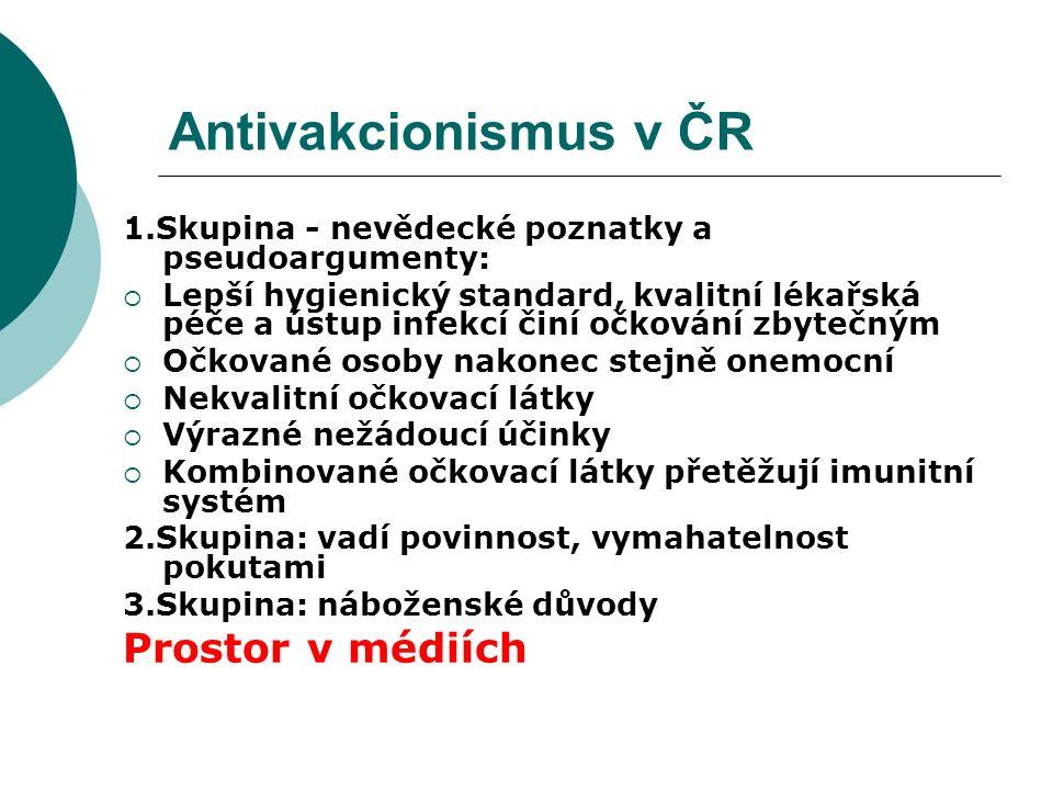 Antivakcionismus v ČR 1.Skupina - nevědecké poznatky a pseudoargumenty:  Lepší hygienický standard, kvalitní lékařská péče a ústup infekcí činí očkov