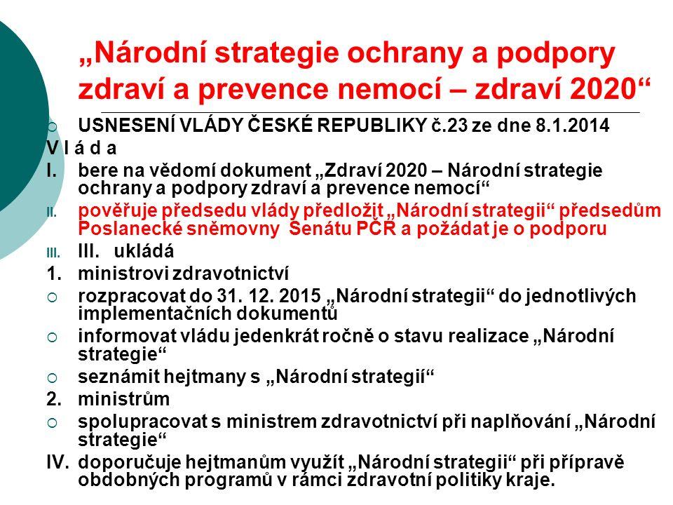 """""""Národní strategie ochrany a podpory zdraví a prevence nemocí – zdraví 2020""""  USNESENÍ VLÁDY ČESKÉ REPUBLIKY č.23 ze dne 8.1.2014 V l á d a I.bere na"""
