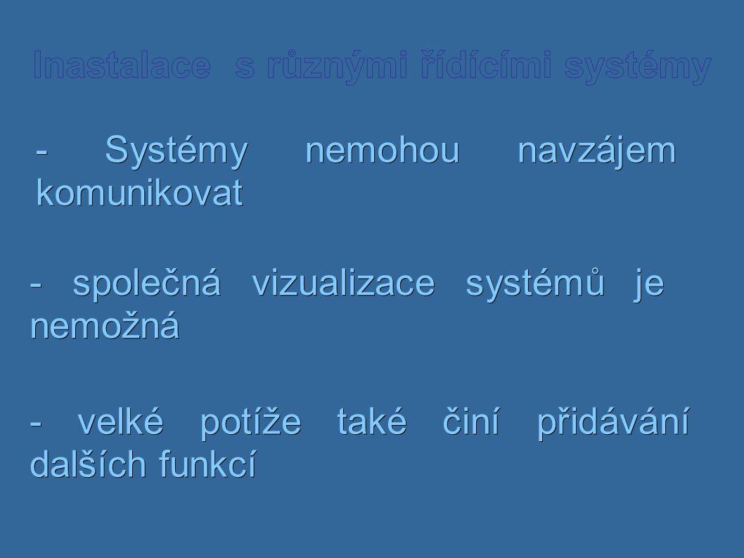 - Systémy nemohou navzájem komunikovat - společná vizualizace systémů je nemožná - velké potíže také činí přidávání dalších funkcí