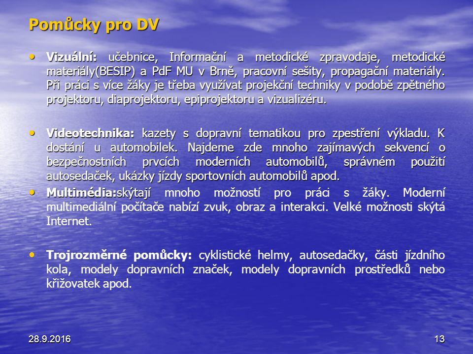 Pomůcky pro DV Vizuální: učebnice, Informační a metodické zpravodaje, metodické materiály(BESIP) a PdF MU v Brně, pracovní sešity, propagační materiály.
