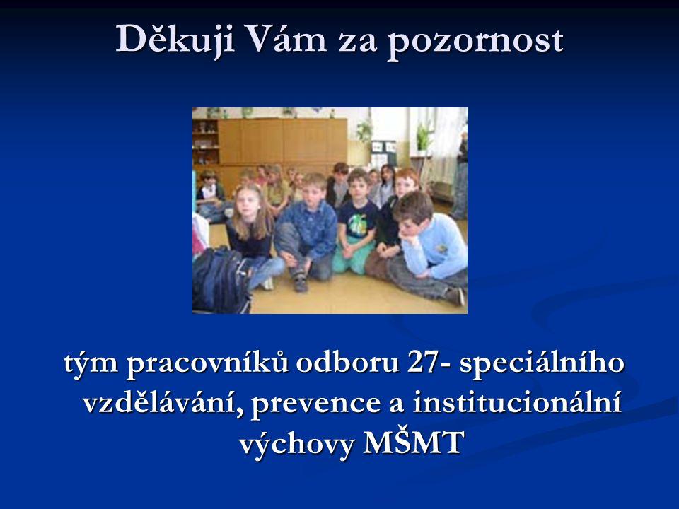 Děkuji Vám za pozornost tým pracovníků odboru 27- speciálního vzdělávání, prevence a institucionální výchovy MŠMT tým pracovníků odboru 27- speciálního vzdělávání, prevence a institucionální výchovy MŠMT