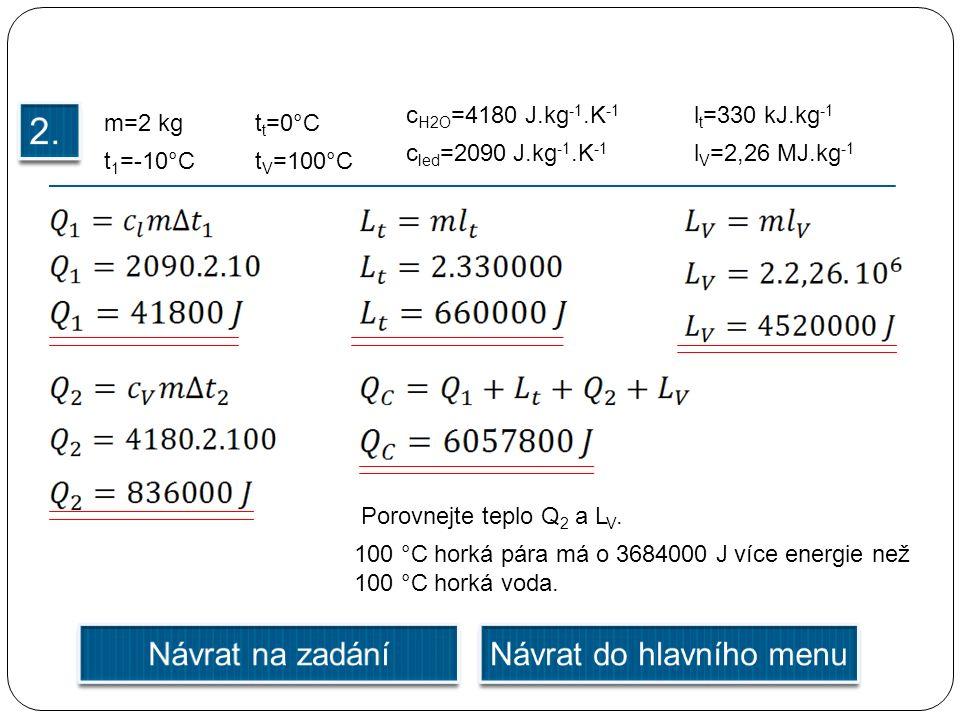 m=2 kg t 1 =-10°C l V =2,26 MJ.kg -1 t V =100°C c H2O =4180 J.kg -1.K -1 Porovnejte teplo Q 2 a L V.