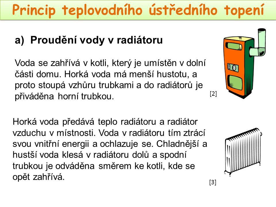 Princip teplovodního ústředního topení Horká voda předává teplo radiátoru a radiátor vzduchu v místnosti. Voda v radiátoru tím ztrácí svou vnitřní ene
