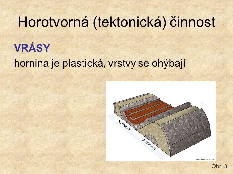Horotvorná (tektonická) činnost VRÁSY hornina je plastická, vrstvy se ohýbají Obr. 3
