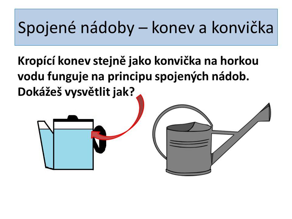 Spojené nádoby – konev a konvička Kropící konev stejně jako konvička na horkou vodu funguje na principu spojených nádob.