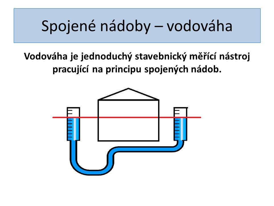 Spojené nádoby – vodováha Vodováha je jednoduchý stavebnický měřící nástroj pracující na principu spojených nádob.