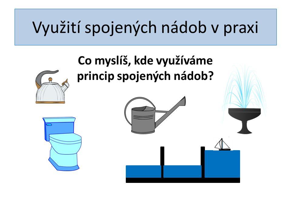 Spojené nádoby – vodotrysk Nádrž s vodou má vyšší hladinu a proto vodotrysk stříká do výšky!