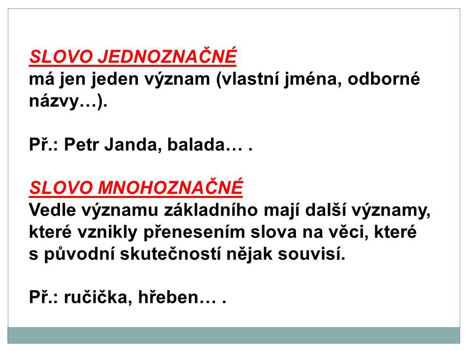 SLOVO JEDNOZNAČNÉ má jen jeden význam (vlastní jména, odborné názvy…). Př.: Petr Janda, balada…. SLOVO MNOHOZNAČNÉ Vedle významu základního mají další