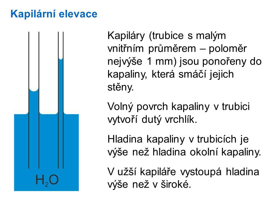 Kapilární elevace Kapiláry (trubice s malým vnitřním průměrem – poloměr nejvýše 1 mm) jsou ponořeny do kapaliny, která smáčí jejich stěny.