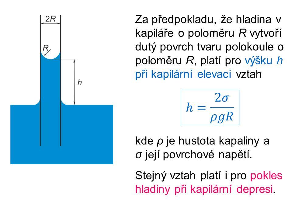 Za předpokladu, že hladina v kapiláře o poloměru R vytvoří dutý povrch tvaru polokoule o poloměru R, platí pro výšku h při kapilární elevaci vztah kde ρ je hustota kapaliny a σ její povrchové napětí.