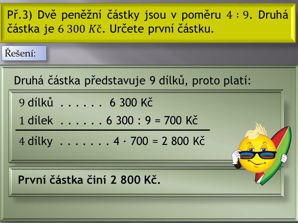 Z poměru určíme celkový počet dílů: Terezka dostala 30 bonbónů a Láďa 24 bonbónů.