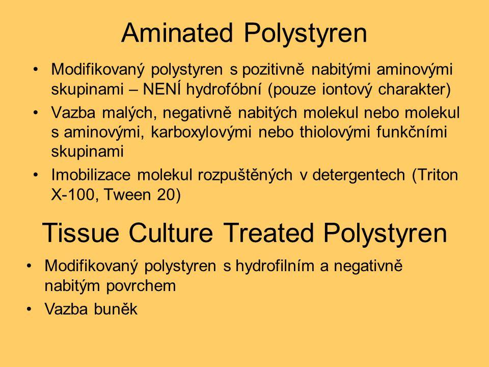 Aminated Polystyren Modifikovaný polystyren s pozitivně nabitými aminovými skupinami – NENÍ hydrofóbní (pouze iontový charakter) Vazba malých, negativně nabitých molekul nebo molekul s aminovými, karboxylovými nebo thiolovými funkčními skupinami Imobilizace molekul rozpuštěných v detergentech (Triton X-100, Tween 20) Tissue Culture Treated Polystyren Modifikovaný polystyren s hydrofilním a negativně nabitým povrchem Vazba buněk