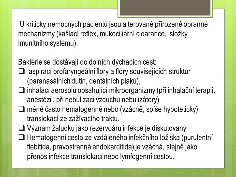 U kriticky nemocných pacientů jsou alterované přirozené obranné mechanizmy (kašlací reflex, mukociliární clearance, složky imunitního systému).