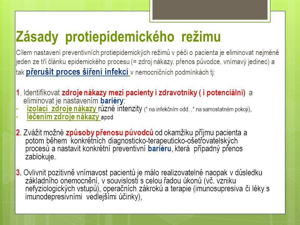 Zásady protiepidemického režimu Cílem nastavení preventivních protiepidemických režimů v péči o pacienta je eliminovat nejméně jeden ze tří článku epidemického procesu (= zdroj nákazy, přenos původce, vnímavý jedinec) a tak přerušit proces šíření infekcí v nemocničních podmínkách tj: 1.