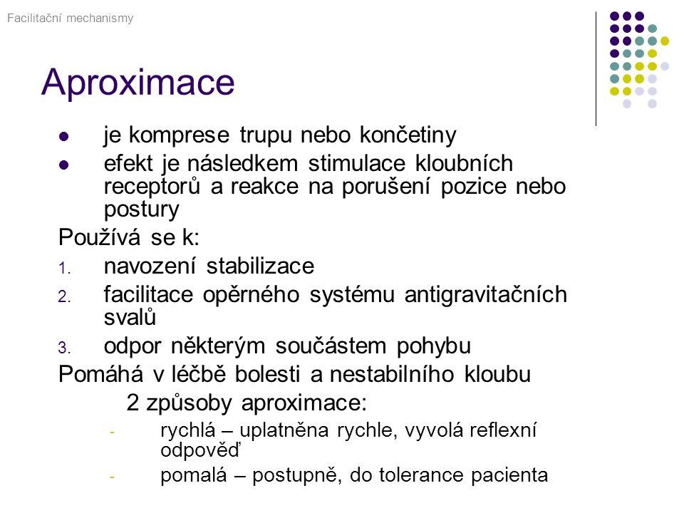 Aproximace je komprese trupu nebo končetiny efekt je následkem stimulace kloubních receptorů a reakce na porušení pozice nebo postury Používá se k: 1.