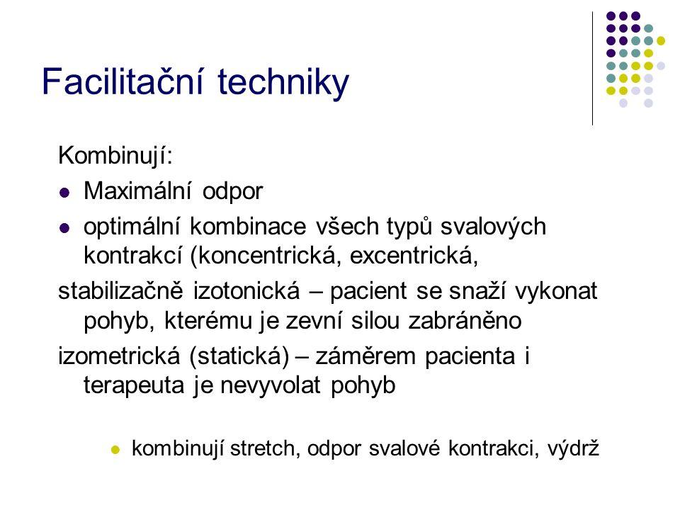Facilitační techniky Kombinují: Maximální odpor optimální kombinace všech typů svalových kontrakcí (koncentrická, excentrická, stabilizačně izotonická – pacient se snaží vykonat pohyb, kterému je zevní silou zabráněno izometrická (statická) – záměrem pacienta i terapeuta je nevyvolat pohyb kombinují stretch, odpor svalové kontrakci, výdrž