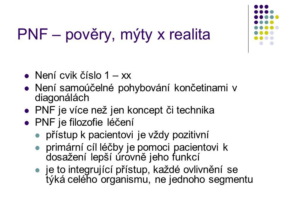 PNF – pověry, mýty x realita Není cvik číslo 1 – xx Není samoúčelné pohybování končetinami v diagonálách PNF je více než jen koncept či technika PNF j
