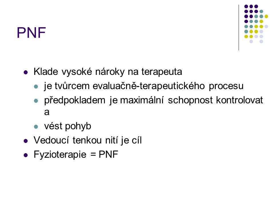 PNF Klade vysoké nároky na terapeuta je tvůrcem evaluačně-terapeutického procesu předpokladem je maximální schopnost kontrolovat a vést pohyb Vedoucí tenkou nití je cíl Fyzioterapie = PNF
