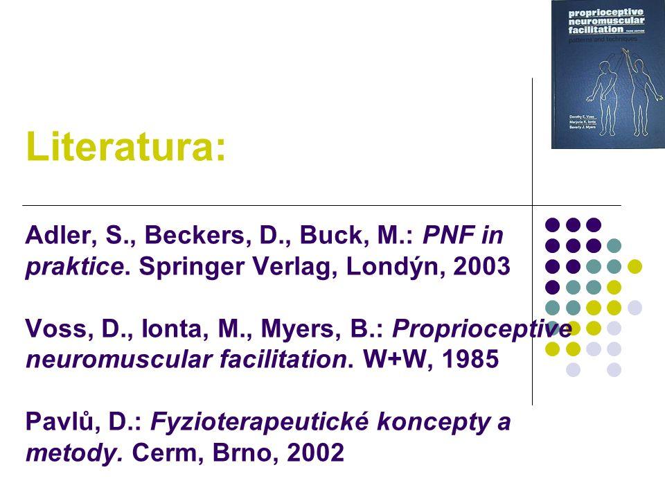 Literatura: Adler, S., Beckers, D., Buck, M.: PNF in praktice. Springer Verlag, Londýn, 2003 Voss, D., Ionta, M., Myers, B.: Proprioceptive neuromuscu