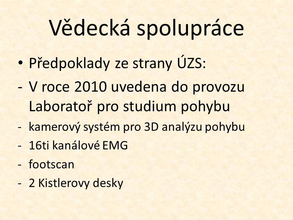 Vědecká spolupráce Předpoklady ze strany ÚZS: -V roce 2010 uvedena do provozu Laboratoř pro studium pohybu -kamerový systém pro 3D analýzu pohybu -16ti kanálové EMG -footscan -2 Kistlerovy desky