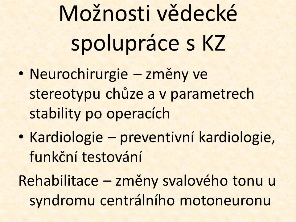 Možnosti vědecké spolupráce s KZ Neurochirurgie – změny ve stereotypu chůze a v parametrech stability po operacích Kardiologie – preventivní kardiologie, funkční testování Rehabilitace – změny svalového tonu u syndromu centrálního motoneuronu