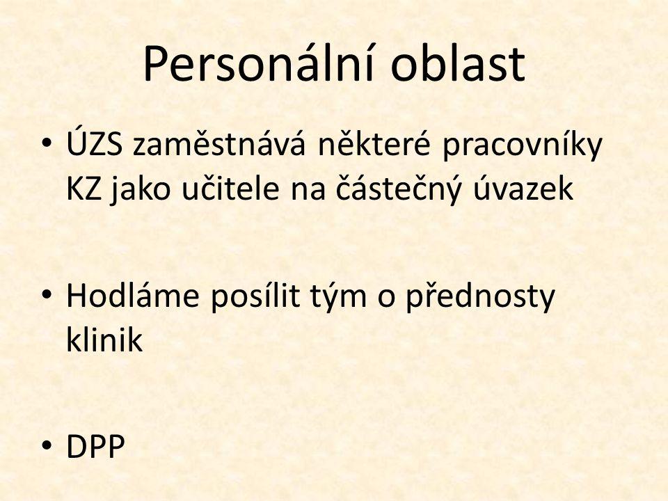 Personální oblast ÚZS zaměstnává některé pracovníky KZ jako učitele na částečný úvazek Hodláme posílit tým o přednosty klinik DPP