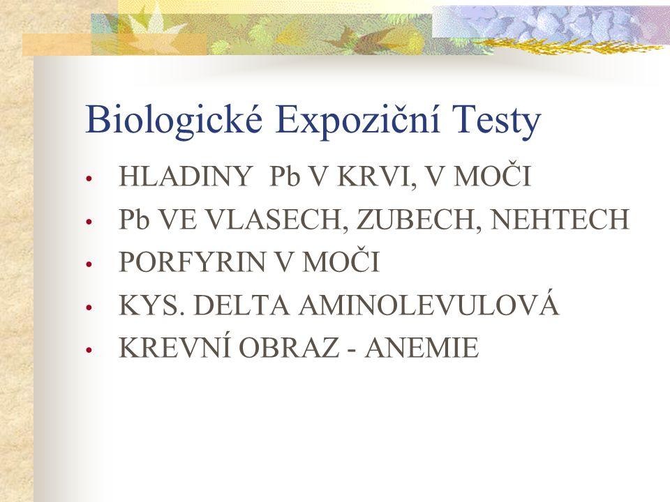 Biologické Expoziční Testy HLADINY Pb V KRVI, V MOČI Pb VE VLASECH, ZUBECH, NEHTECH PORFYRIN V MOČI KYS.