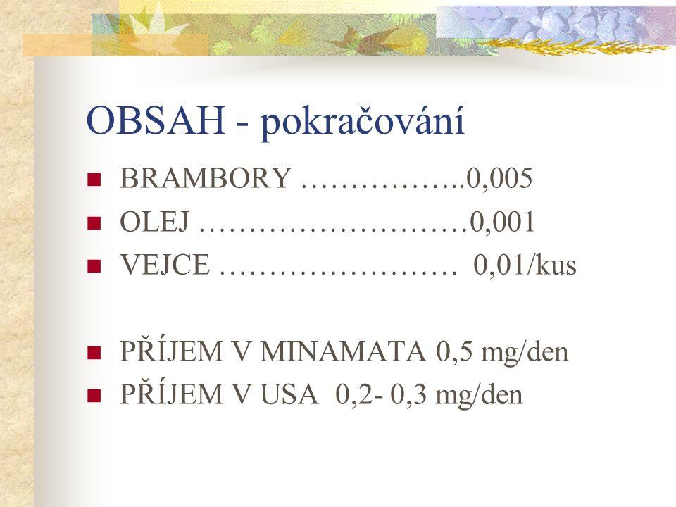 OBSAH - pokračování BRAMBORY ……………..0,005 OLEJ ………………………0,001 VEJCE …………………… 0,01/kus PŘÍJEM V MINAMATA 0,5 mg/den PŘÍJEM V USA 0,2- 0,3 mg/den