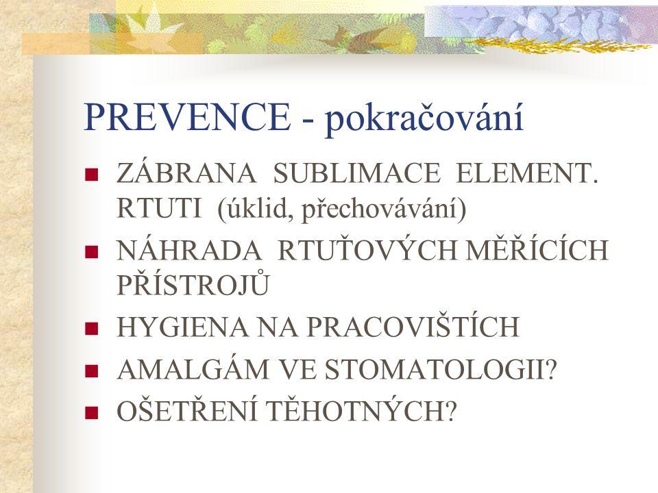PREVENCE - pokračování ZÁBRANA SUBLIMACE ELEMENT.